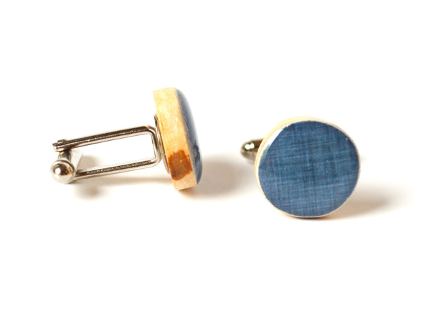 Denim blue cufflinks wood cuff links fathers day gift for dad wedding eco friendly mens accessory gift for men