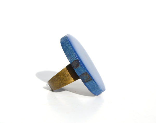 Island water blue statement Ring ocean blue eco friendly jewelry  cocktail ring wood jewelry bridesmaid gift Starlight Woods