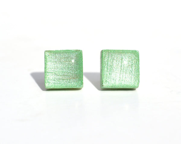 Mint chip metallic studs square post earrings geometric jewelry wood earrings minimalist jewelry eco friendly unique gift for her