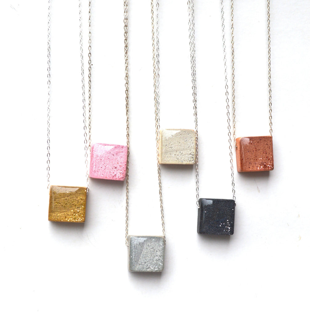 Eco friendly square pendant necklace wood rose gold necklace earth
