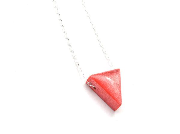 Coral triangle necklace geometric jewelry minimalist eco friendly jewelry bridesmaid jewelry summer jewelry starlightwoods