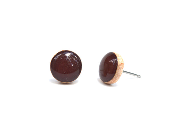 Dark chocolate brown stud earrings, post earrings, eco friendly jewelry, wood earrings, minimalist jewelry eco fashion for her