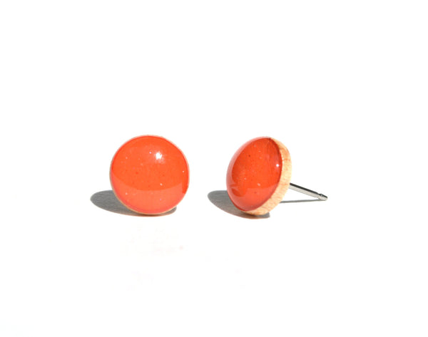 Geranium orange studs post earrings eco friendly jewelry, wood earrings, minimalist jewelry eco fashion for her