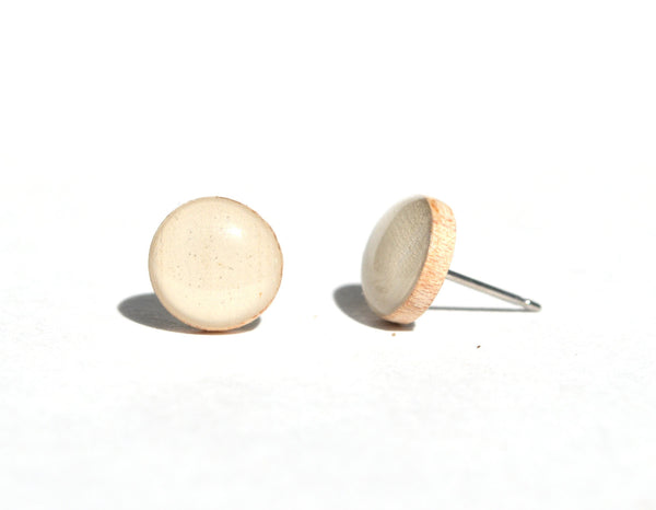 Cream studs. White post earrings. White stud earrings. Pearl white studs. Eco friendly jewelry. Starlight woods.