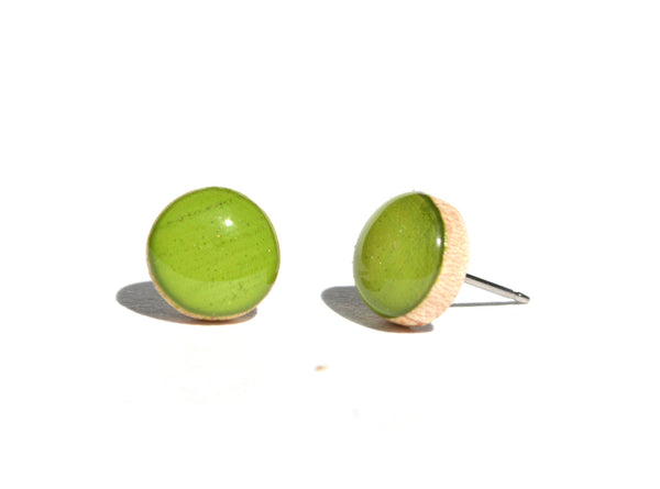 Inch worm green studs post earrings eco friendly jewelry, wood earrings, minimalist jewelry eco fashion for her
