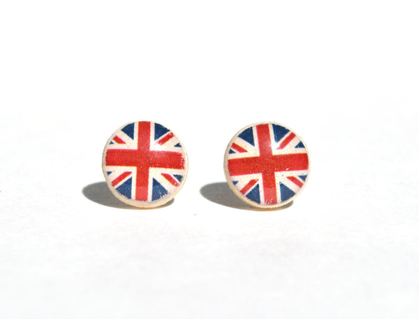 british flag studs,  union jack stud Earrings, patriotic british flag jewelry, minimalist jewelry, gift for her eco-friendly