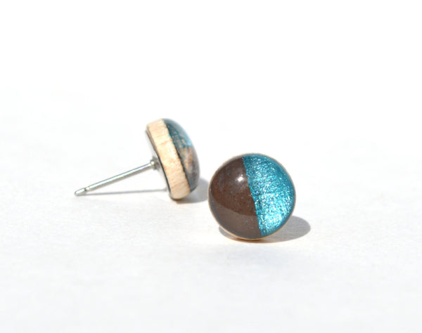 Chocolate and blue topaz studs. Color block Two tone post earrings. Geometric jewelry.  Wood jewelry. Starlight woods. Eco friendly jewelry.