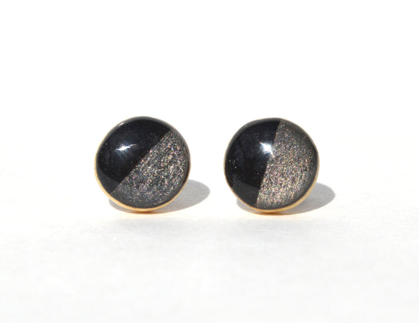 Black and charcoal grey two tone studs.Two tone post earrings. Geometric jewelry.  Wood jewelry. Starlight woods. Eco friendly jewelry.
