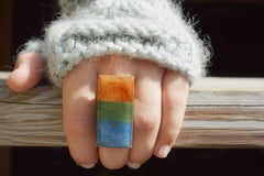 Stained wood statement ring. Wood cocktail ring . Rectangle ring. Starlight woods. Eco friendly jewelry.