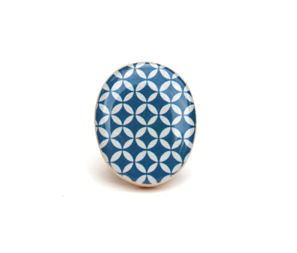 Cocktail Ring navy geometric . Navy blue statement ring .  Wood jewelry  . Fall fashion . Eco friendly . Starlight woods