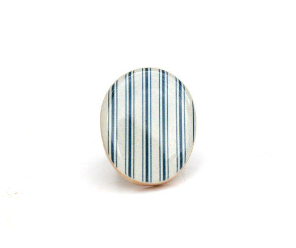 Blue striped statement ring . Nautical statement ring .  Wood cocktail ring . Wood jewelry  . Fall fashion . Eco friendly . Starlight woods