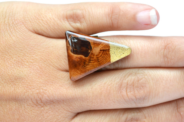 Color block triangle Statement ring . OOAK Statement jewelry . Geometric wood jewelry .  Triangle ring .  Starlight Woods . eco friendly