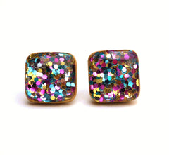 Rainbow glitter studs - rainbow glitter earrings  - Square glitter studs