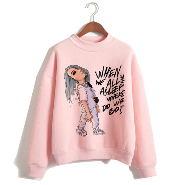 Billie Eilish Hoodie Harajuku Funny Cartoon Women Sweatshirt Autumn Winter Warm Bad Guy hooded Graphic Hip Hop Hoody Female