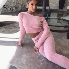 Slaygirl Knitted Sweater Two Piece Set Crop Tops And Long Pants Sexy Autumn Winter 2 Piece