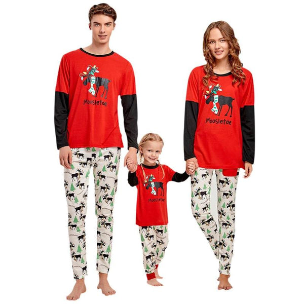 Merry Christmas Parent-child Outfits Christmas Elk Print Family Matching Outfits Clothing Long Sleeve T-shirt Pants Clothes Set