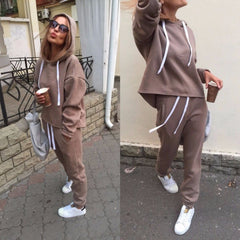 Thicken Hooded Sweatshirts 2 Piece Set Casual Sport Suit Women Tracksuit Set