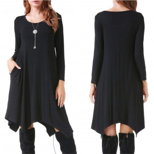 Autumn Winter Cotton Dress Women Long Sleeve Irregular Loose Dress Casual Black Dress Plus Size mini Dress Fashion Clothing 3XL