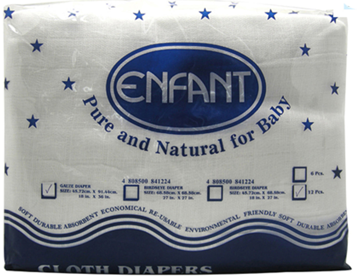 "Enfant Lampin Baby Cloth Gauze Diaper 18"" x 36"" - 12 pcs"