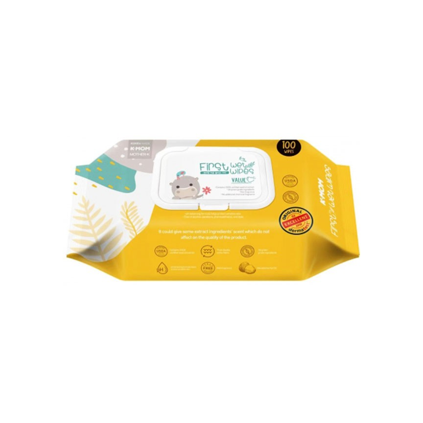 K-MOM First Value Wet Wipes with Cap 100s - Mighty Baby PH