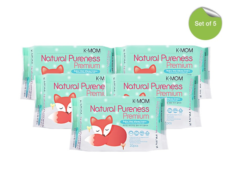 K-MOM Natural Pureness Premium Wipes in 20s - BUNDLE OF 5 - Mighty Baby PH