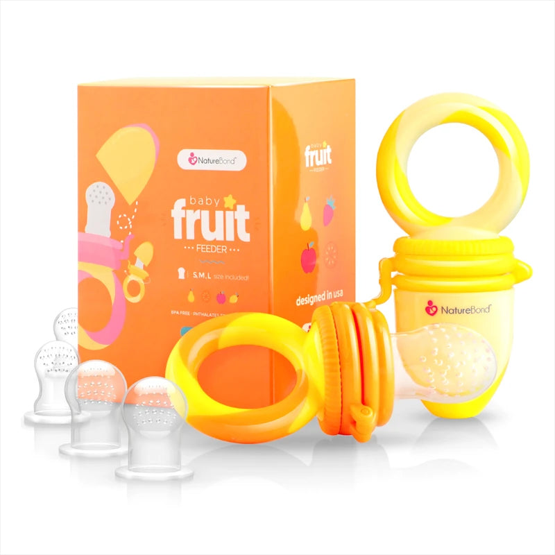 Naturebond Baby Fruit & Food Feeder - Sunshine Orange & Lemonade Yellow