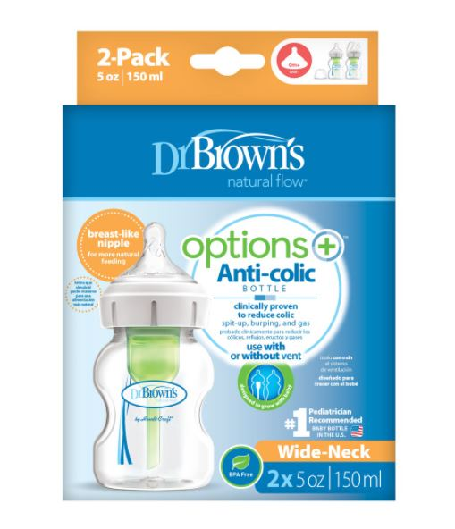Dr. Brown's Options+ PP Wide Neck - 2 Bottle Pack (5oz/150ml)