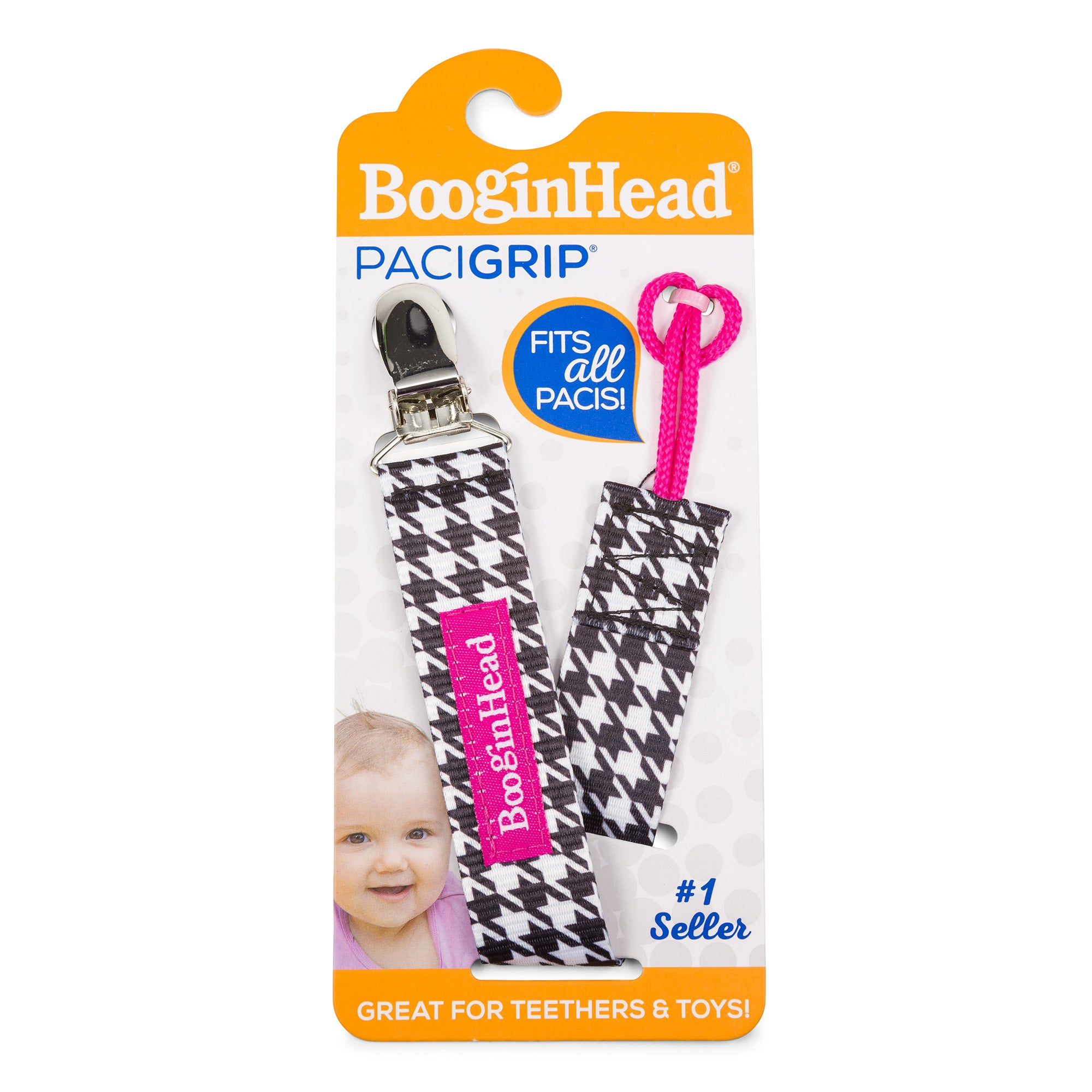 Booginhead Universal Pacifier Clip PaciGrip - Houndstooth