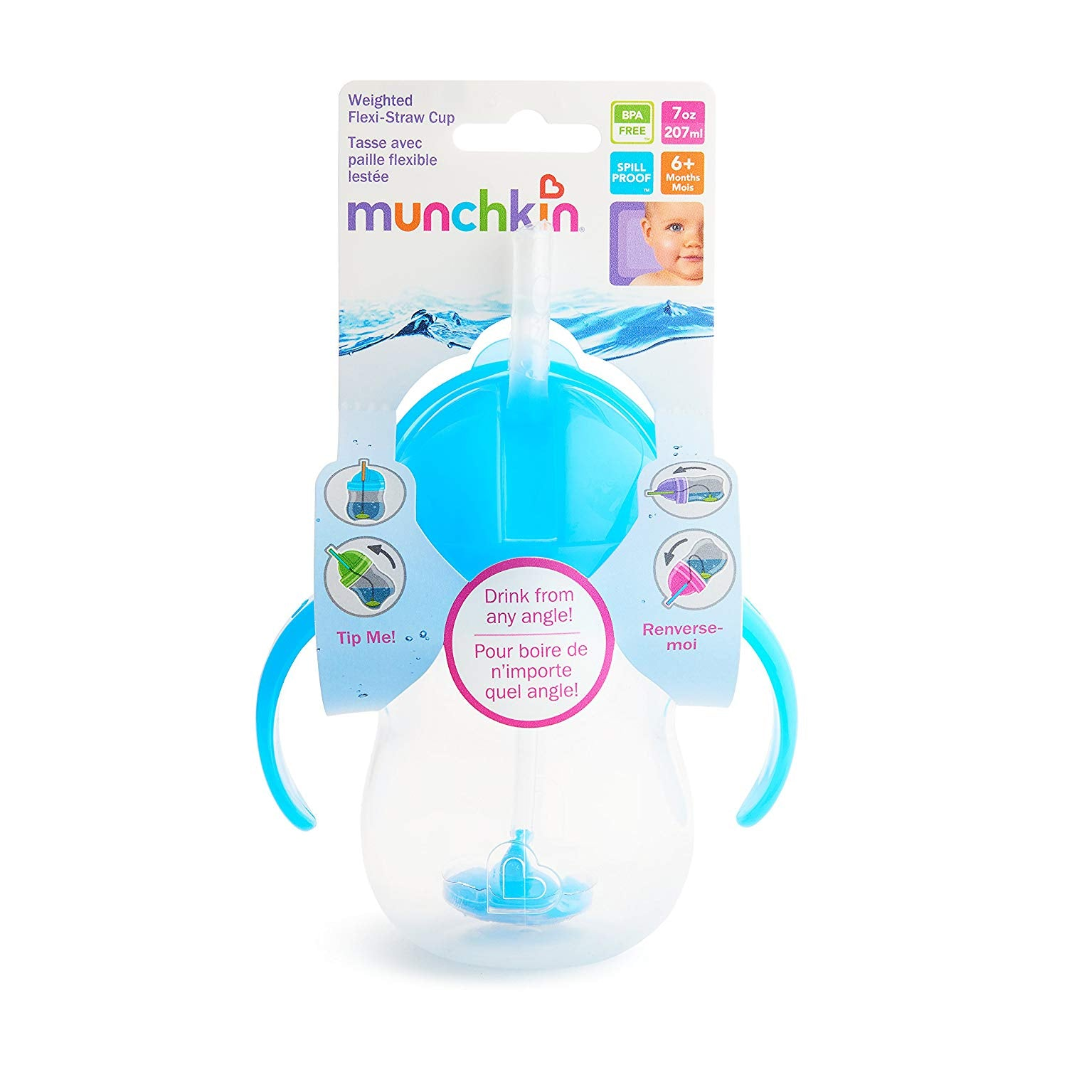 Munchkin Click Lock Weighted Flexi-Straw Cup – 7oz