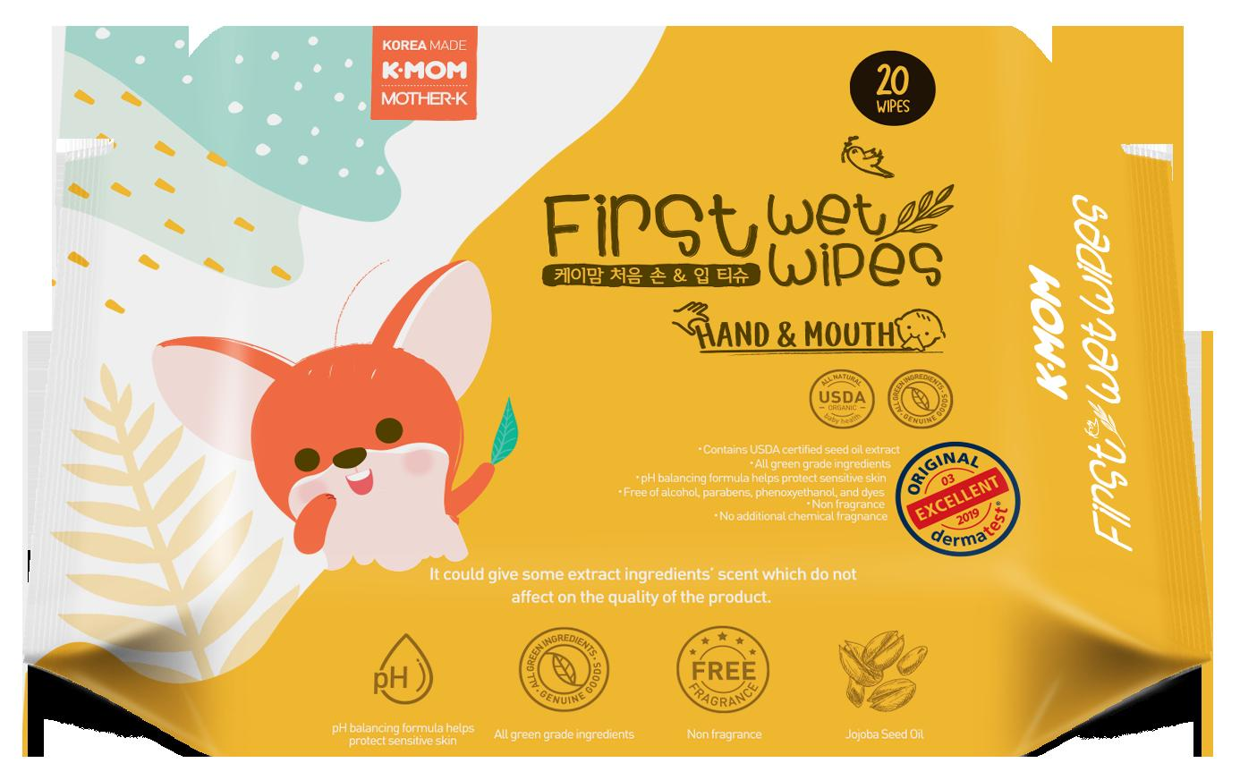 K-MOM First Wet Wipes Hand and Mouth 20s