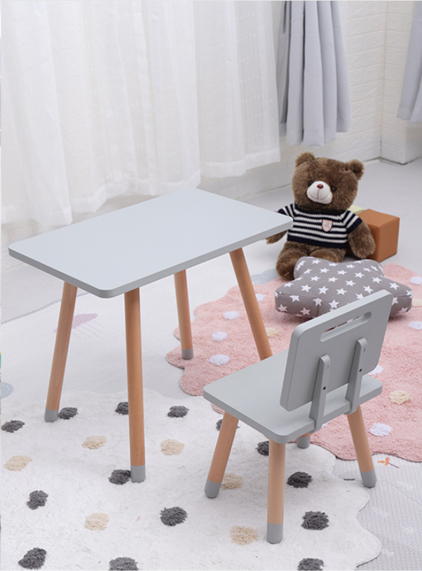 Wooden Table and chair set - Grey