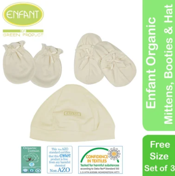 Enfant Organic Pack Set (Bonnet, Mitten, and Booties)