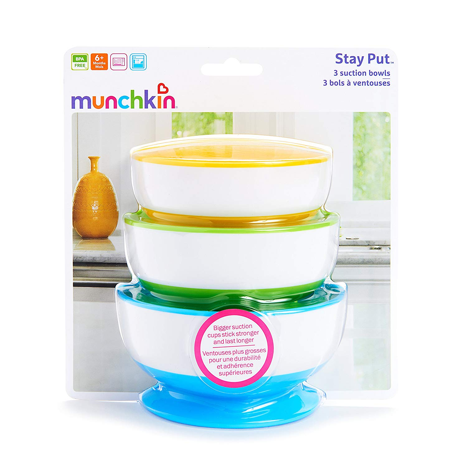 Munchkin Stay Put Suction Bowls (3-Pack)