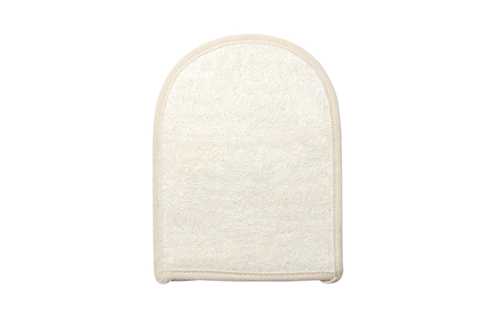 Bamboo and loofah bathing mitt