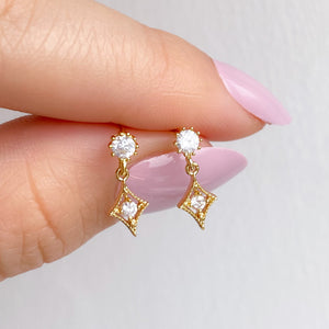Gold Diamante Diamond Cubic Zirconia Stud Earrings