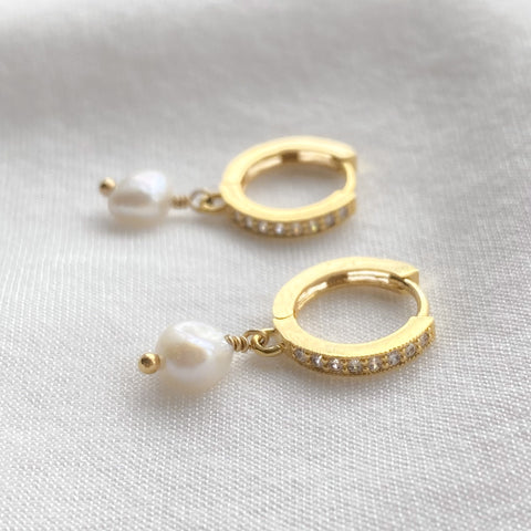 Gold Cubic Zirconia Dainty Pearl Earrings