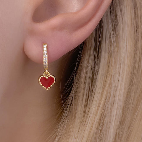 Gold Cubic Zirconia Red Heart Earrings