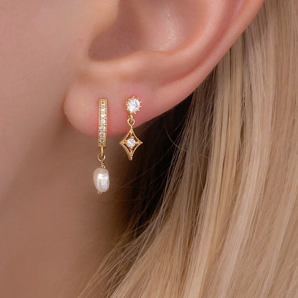 Gold Cubic Zirconia Star Burst Stud Earrings