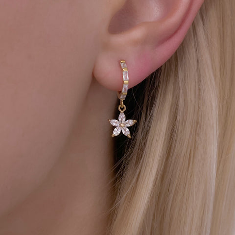 Small Flower Gold Heart Cubic Zirconia Huggie Hoop Earrings