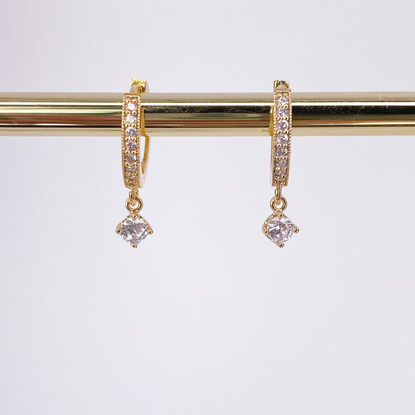 Dainty Crystal Cubic Zirconia Huggie Hoop Earrings