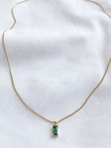 Green Rectangle Gemstone Necklace