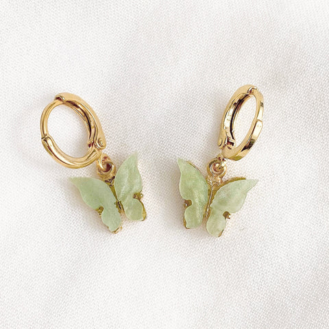 Sage Green Butterfly Earrings