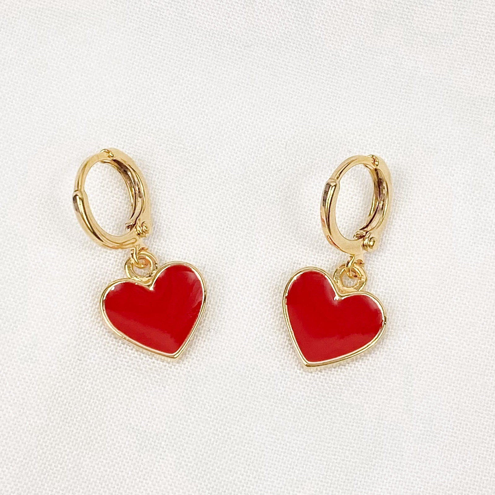 Red Enamel Love Heart Earrings