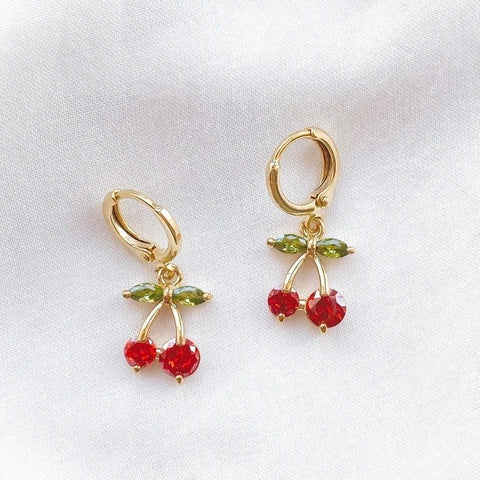 Red and Green Gemstone Cherry Hoop Huggie Earrings