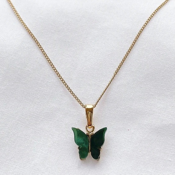 Forrest Green Gold Butterfly Necklace