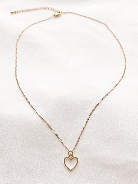 Gold Cutout Love Heart Necklace