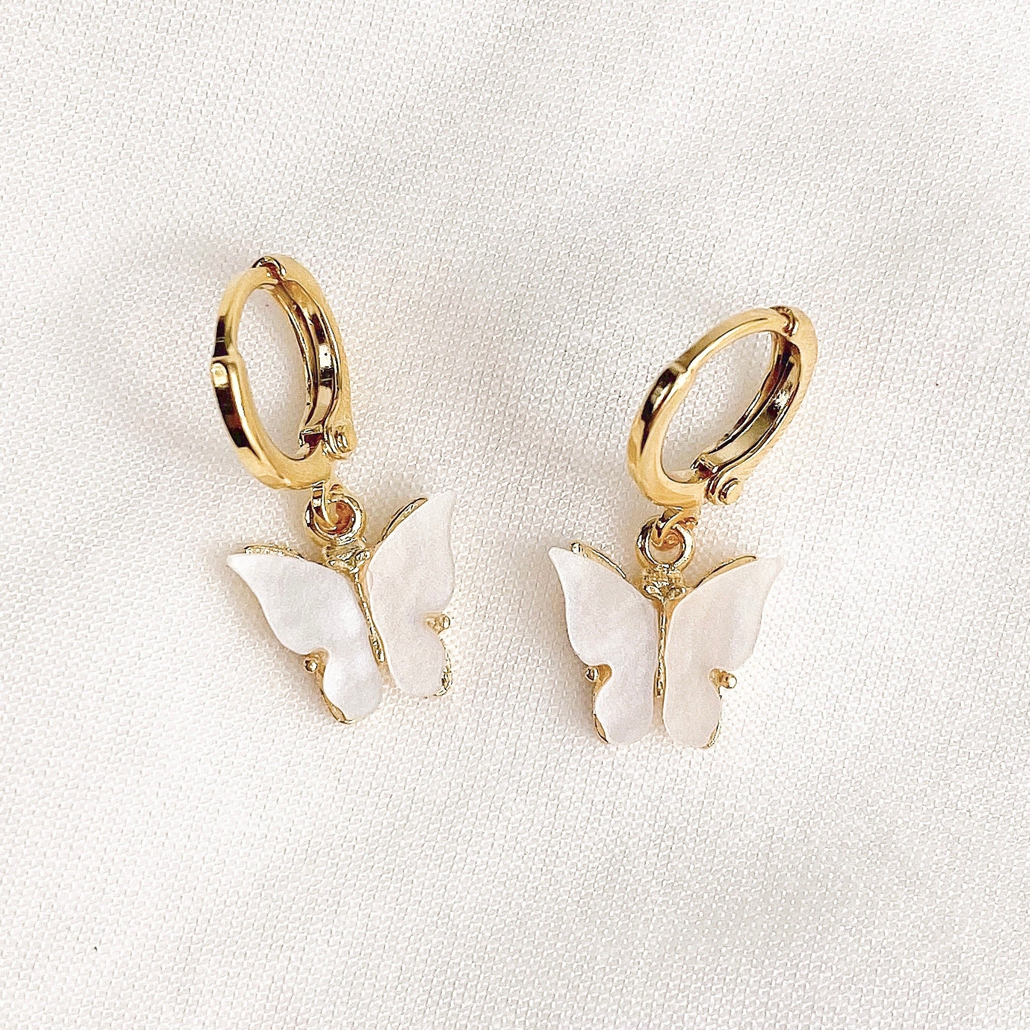 White Butterfly Earrings