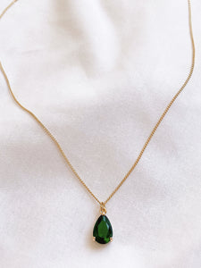 Green Emerald Glass Gemstone Teardrop Necklace