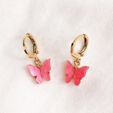 Fuchsia Coral Pink Butterfly Earrings