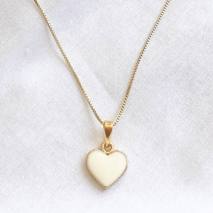 White Enamel Love Heart Necklace